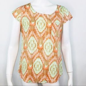 OLIVE + OAK IKAT PRINT PULL ON BLOUSE